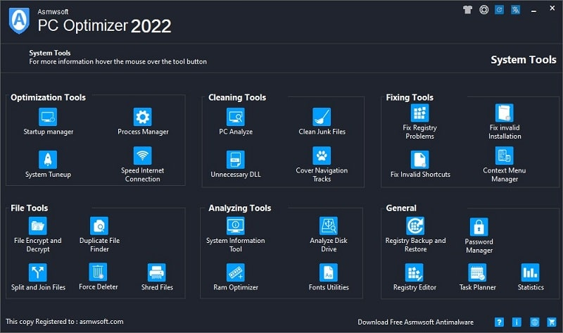 Asmwsoft PC Optimizer full screenshot