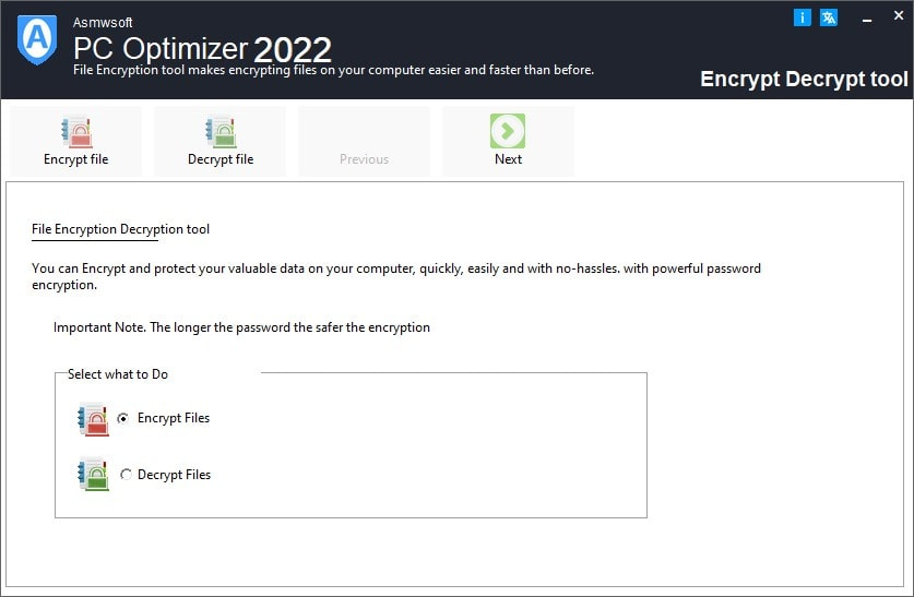 Asmwsoft PC Optimizer - Files Encrypt and Decrypt tool